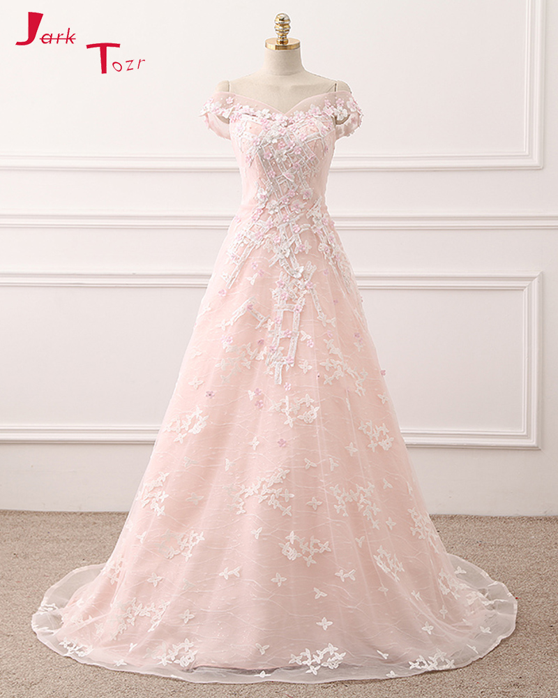 Jark Tozr 2017 New Arrive Blue Pink Lace A Line Wedding