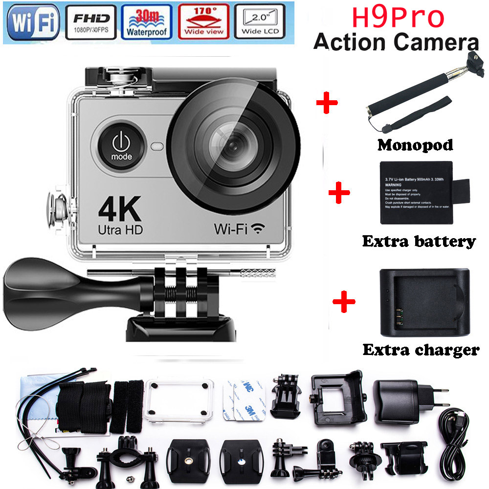 H9 Pro Action camera ultra 4K / 30fps Ambarella A12 3840*2160 remote WiFi pro Helmet Cam go waterproof  camera