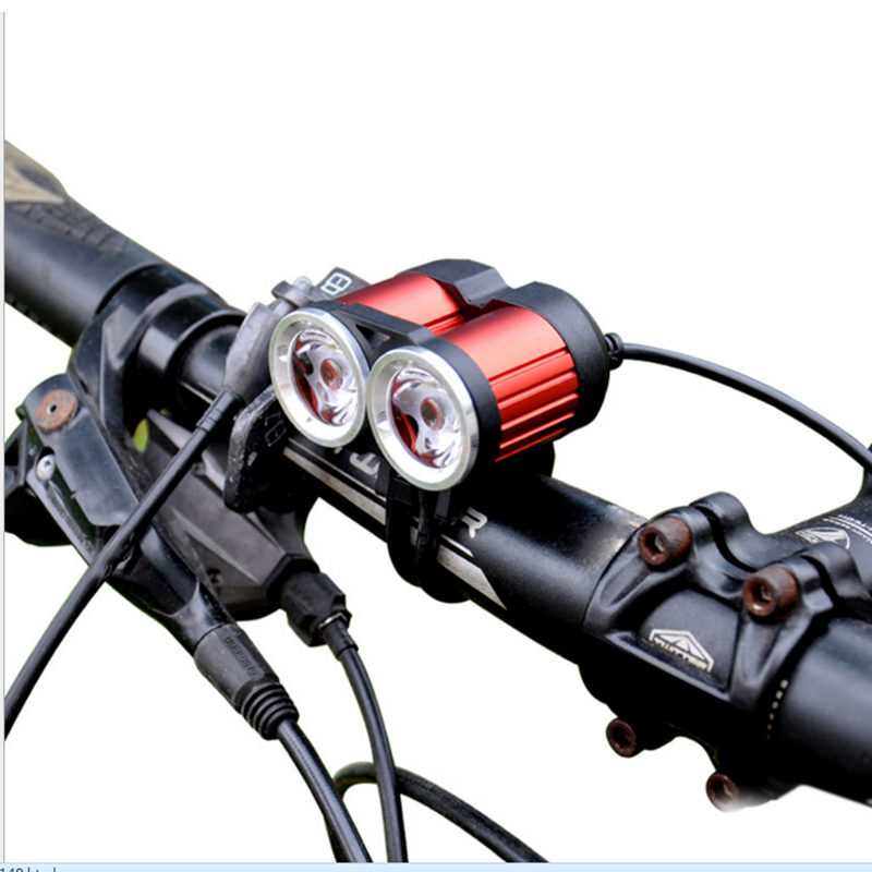 Super Bright X2 2000Lumen XML T6 Bicycle Light LED Head light Lamp Bike lights Head Lamp Outdoor Riding Cycling Lighting