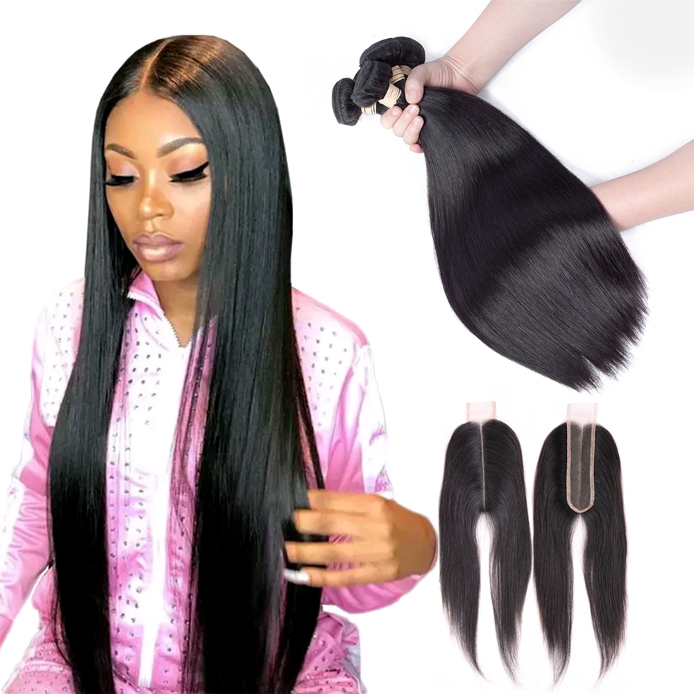 Ms Love 2x6 Closure And Bundles Peruvian Hair Bundles With Closure Straight Kim K Human Hair