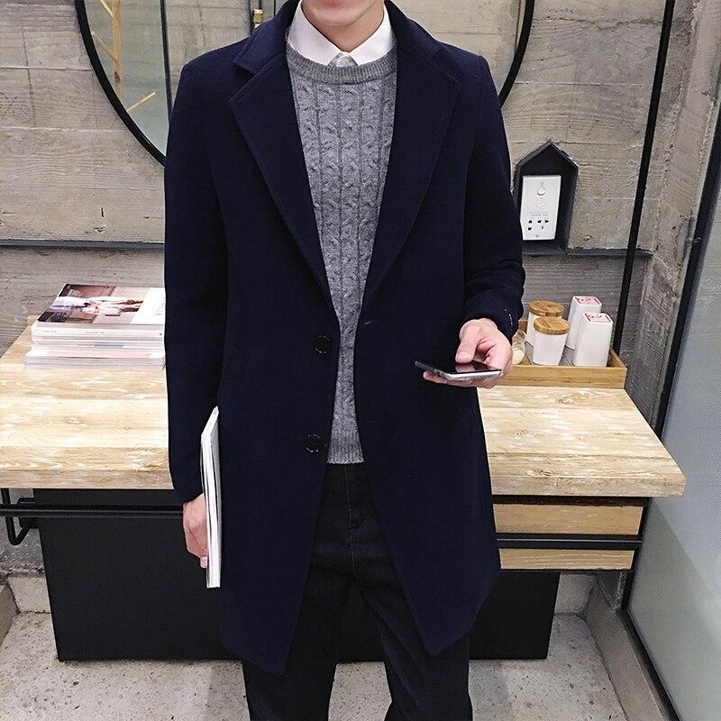 2017 Vinter män i långa täcker Slim Woolen Coat, England Style - Herrkläder - Foto 4