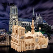 Children 3D Puzzle Toys Notre Dame De Paris World Famous Buildings Toy Model Wooden High Quality Wood Gift For