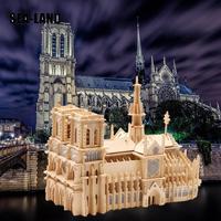 Children 3D Puzzle Toys Notre Dame De Paris World Famous Buildings Toy Model Wooden Puzzle High Quality Wood Gift For Children