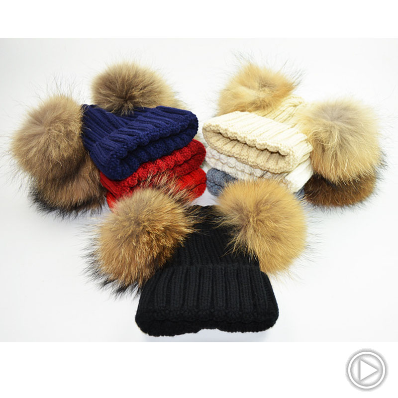Mink and Fox fur Two Ball Cap Pom Poms winter hat for women girl 's hat knitted beanies cap brand new thick female cap new star spring cotton baby hat for 6 months 2 years with fluffy raccoon fox fur pom poms touca kids caps for boys and girls