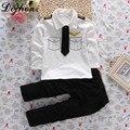 2 pcs Traje Piloto T Camisas + Calças Crianças Conjunto de Roupas Menino Primavera de Manga Comprida Moda uniformes Piloto Crianças Bebê Roupas menino