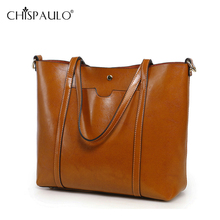 2016 Genuine Leather Bag Women Oil Wax Leather Cowhide Shoulder Bag Handbag Tote Luxury Ladies Composite Bag Brands sac a main