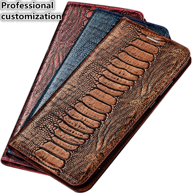 YM05 Ostrich Foot Pattern Genuine Leather Magnet Phone Bag For LG V30 Case For LG V30 Flip Case Free Shipping