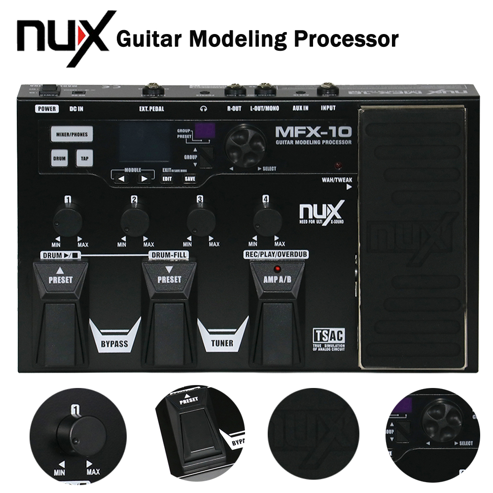 NUX MFX-10 LCD Display Modeling Guitar Effect Processor Pedal Drum Recorder 55 Effect 72 Preset Multi-function кабель prolink pb103 0300