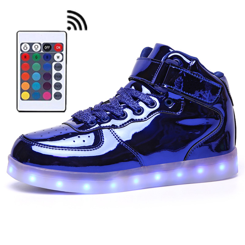 Remote Control LED Shoes Women Gold High Top Men Light Up Sneakers Soft Leather Casual Boy Girl Luminous Children  Bright ShoesRemote Control LED Shoes Women Gold High Top Men Light Up Sneakers Soft Leather Casual Boy Girl Luminous Children  Bright Shoes