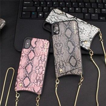 Fashion Snake Crossbody Portemonnee Tas Voor Creditcards Telefoon Gevallen Voor Iphone Xs Max Xr X 6S 6 8 7 Plus Met Lange Keten Back Cover
