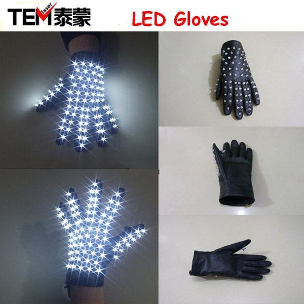 משלוח חינם 1PCS LED שלב Wreless כפפות LED / כפפות זוהר עבור מייקל ג 'קסון בילי ג' אן דאנס (יד שמאל או ימין)