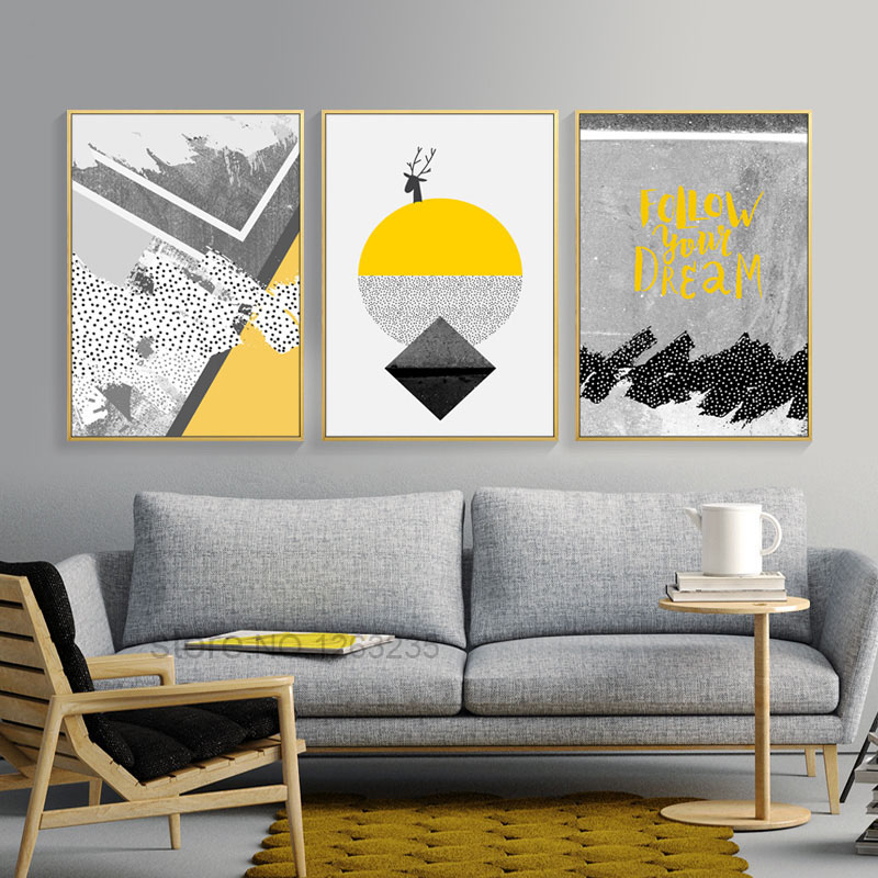 Beautiful Modern Abstract Deer Yellow Painting Gray Geometric Nordic Poster Geel Posters And Prints Wall For Living Room Unframed in Painting & Calligraphy Model - Contemporary Wall Posters for Bedroom For Your House