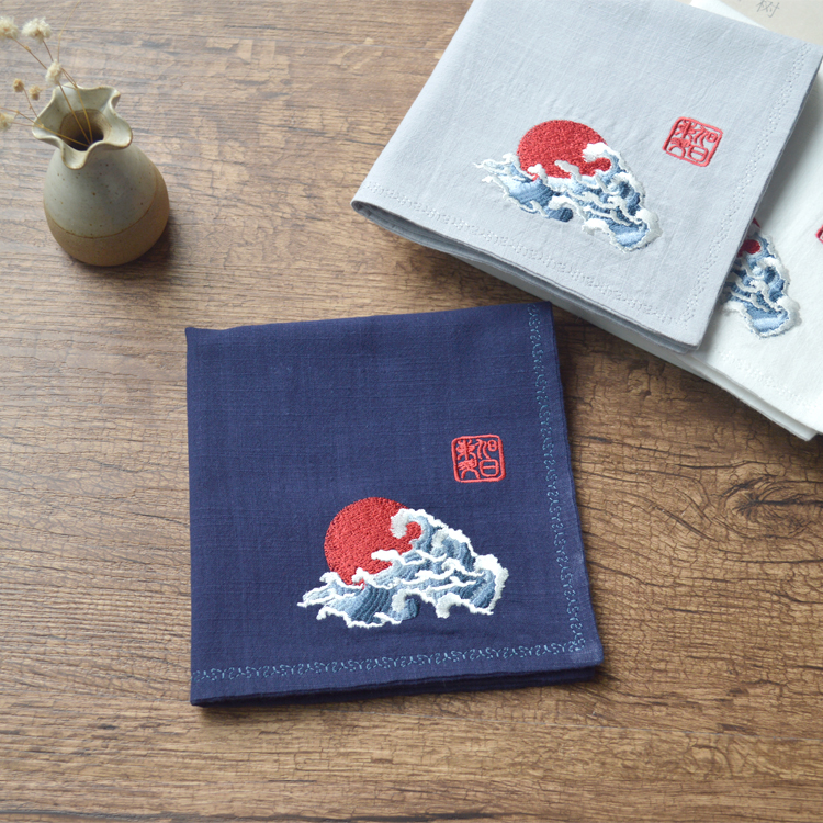 Retro Chinese Style Men's Cotton And Linen Embroidery Flower Handkerchief Small Pocket Square Birthday Abroad Gift