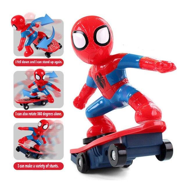 Nunca Fall Down DC Skate Spiderman Brinquedos Sonoros Brinquedo Flash de Luz para Crianças Brinquedos Para As Crianças do Presente do Partido de Som Luz