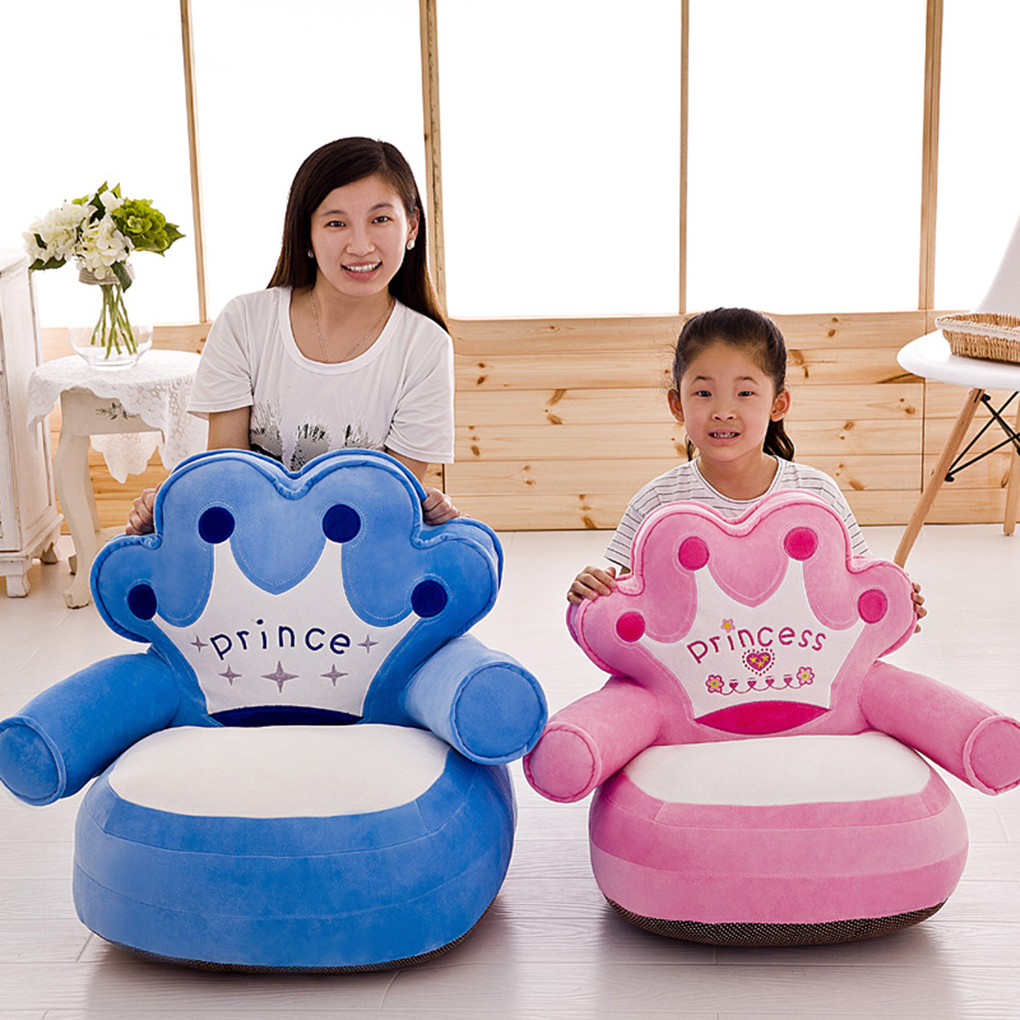 No Filling Baby Chair Toddler Nest Puff Seat Cartoon Crown Bear Children Seat Sofa Cover ...