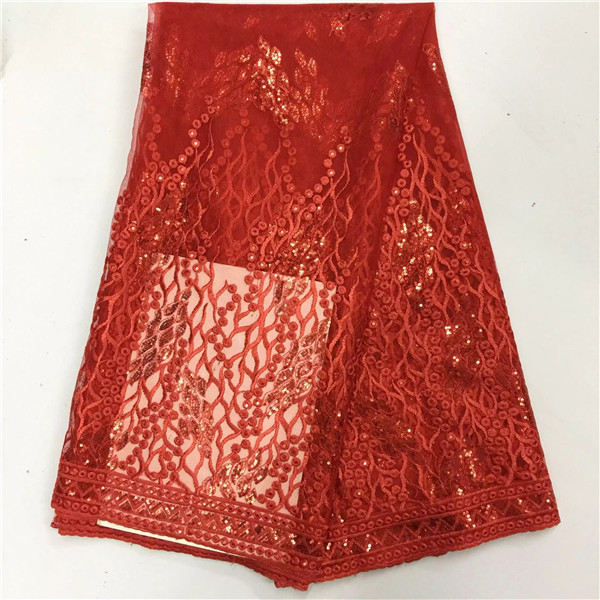 red tulle lace african sequin lace fabric best quality glitter dress  nigerian sewing material for women 5yard lotPLF-92 c557e0b30eef