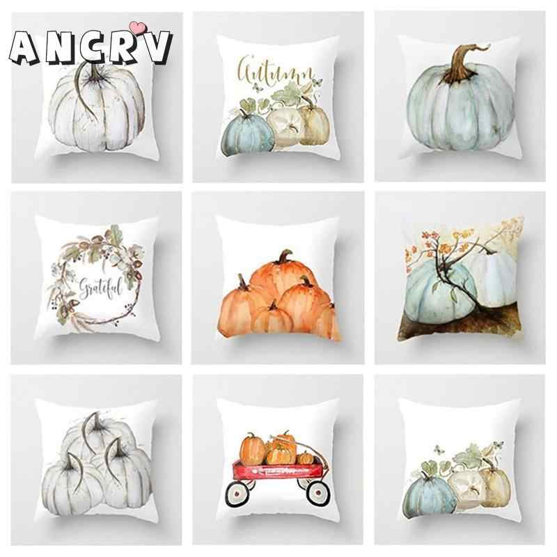Cute Pumpkin Watercolor Throw Pillow Cover for Autumn Harvest Thanksgiving Home Decorative Car Sofa Halloween Cover Pillow Case