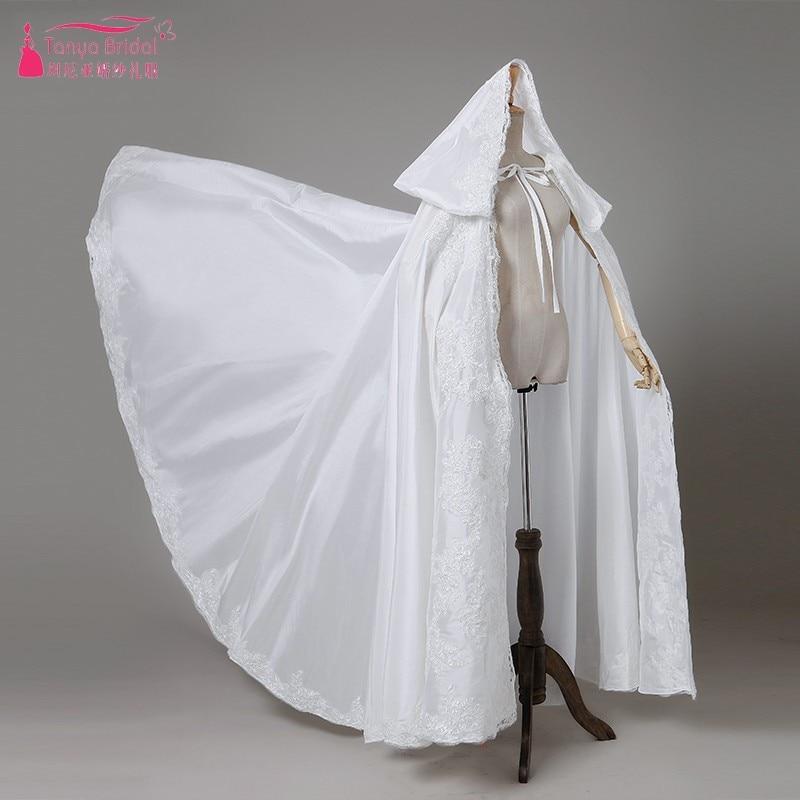 Ivory Lace Wedding Cape Long Bridal Bolero Ivory/Black/Red Elegant Bride Appliques Cloak In Stock DQG449