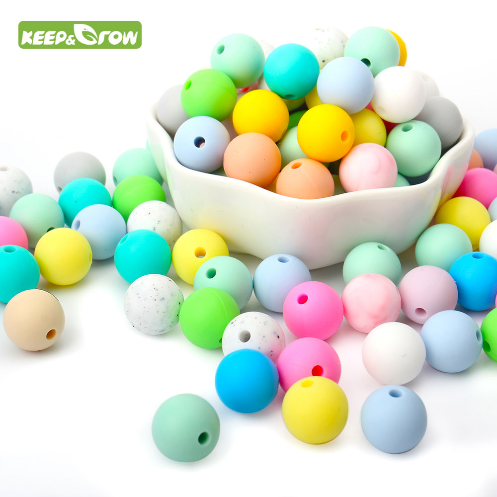 KEEP&GROW 10Pcs Round Silicone Beads 12mm Baby DIY Teething Beads Necklace Pacifier Chain Bracelet Teether Jewelry Accessories