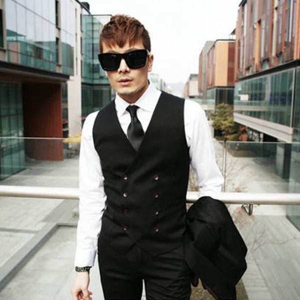 2015 Hot Sale men fashion vest men slim  double breastes vest  men personality  waistcoat