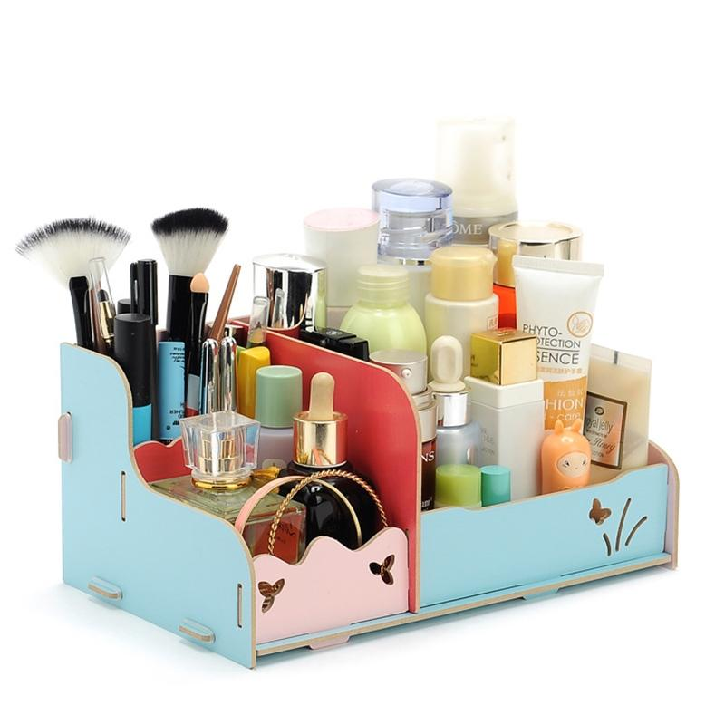 AsyPets DIY Wood Beauty Makeup Storage Drawers Box Cosmetics Organizer Removable Case-30