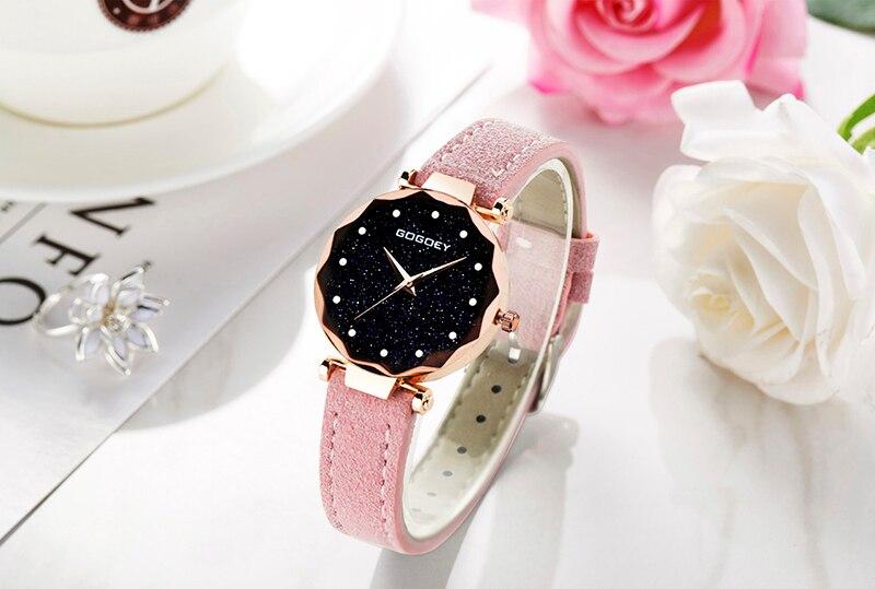 relojes mujer 18 Luxury Brand Gogoey Women Watches Personality romantic starry sky Wrist Watch Rhinestone Design Ladies Clock 29