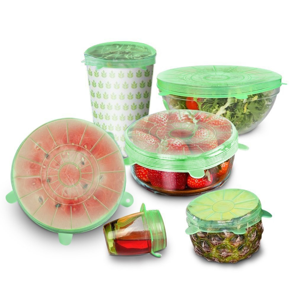 6pcs Reusable Silicone Lid Cover Bowl Pan Cooking Pot Stretch Covera Food Wrap Fresh Keeping Kitchen Accessories 4pcs silicone reusable food fresh keeping plastic wrap