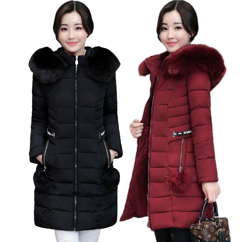 Winter jacket women coat fur collar thicken warm long down jacket female plus size 3XL hooded   parka   ladies chaqueta feminino