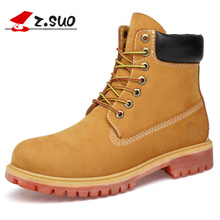 Big Size:36-47 Genuine Leather Boots Men Waterproof Cow Suede Winter Boots Lace Up Ankle Snow Boots High Quality Shoes Men