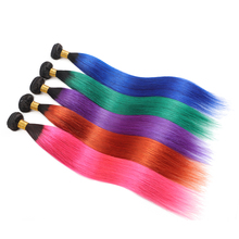 Ombre Pink Blue Human Hair Bundles Pre-Colored Brazilian Straight Human Hair Extension 1PC Non-Remy Hair Weaves Bundle