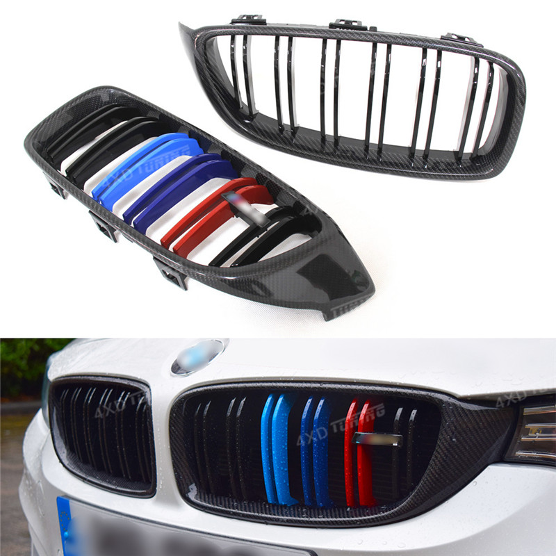 For BMW F32 Front Grille 4 series F32 F33 F36 F80 M3 F82 F83 M4 Carbon Fiber & Plastic Front Bumper lip Grille Gloss Black 2014+ carbon fiber auto front lip splitter flags for bmw 4 series f32 f33 435i m sport coupe & convertible 2 door 2014 2016 page 1
