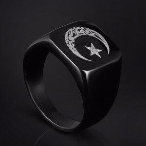 Image 3 - Anello musulmano in acciaio inossidabile per uomo Islam moon star anello color oro e argento