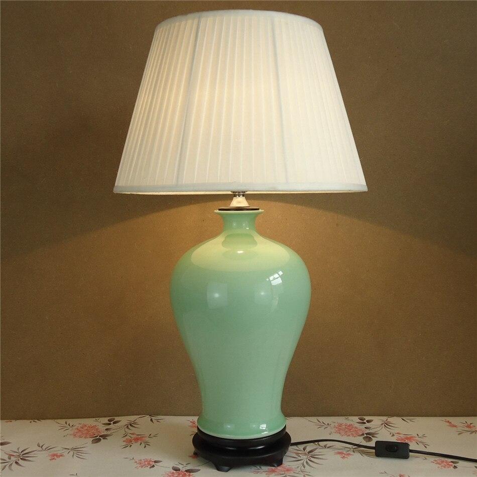 Beautiful plain colour glazed porcelain ceramic vase table lamps