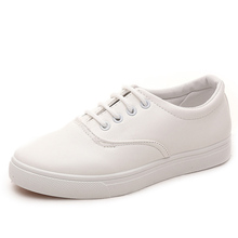 NEW high quality women's leather Breathable casual shoes Fashon lace-up white bottom shoes for ladies womens flats shoes loafers