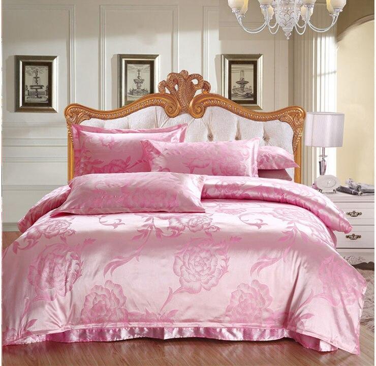 Flores de color rosa 4 unids colchas king size juegos de cama de seda de seda sat n de seda - Edredon de seda ...