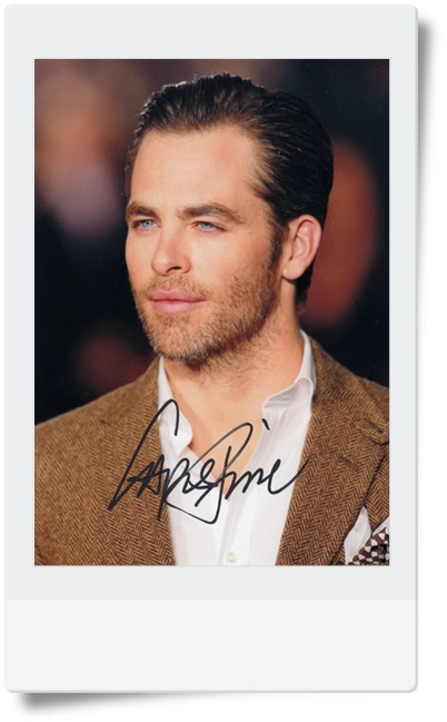 signed Chris Pine autographed photo 7 inches hot male actor freeshipping 08201703
