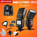 DHL libre! 2x Godox GN60 TT685S 2.4G HSS TTL de Flash Speedlite + X1S kit transmisor del disparador para sony a58 a7rii a7ii a99 a7r + 8 regalo
