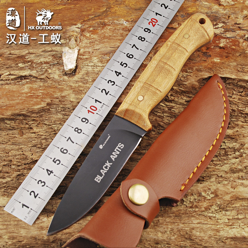 HX OUTDOORS survival fixed knife bamboo handle camping knife black blade saber tactical tools cold steel hunting straight knife integral forming bamboo pure handmade small survival camping knife tactical fixed blade knife hunting knives damascus vg10 steel