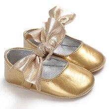 Яркие Кожаные с бантом для новорожденных девочек кроватки обувь мягкая подошва одноцветное кроватки для новорожденных малышей нескользящая обувь