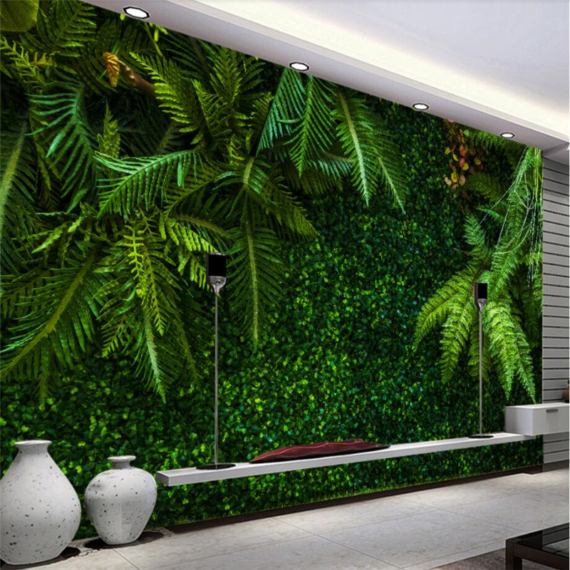 beibehang Custom 3d wallpaper tropical rainforest leaves green landscape wall paper sofa living room dining room tv backdrop beibehang high quality tropical green plantain banana leaves fashion 3d wallpaper roll wall sticker wall paper home decor
