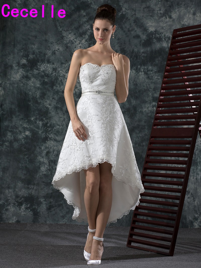 Vintage lace high low short wedding dresses sweetheart for Hi lo dress wedding guest