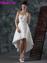 Vintage Lace High Low Short Wedding Dresses Sweetheart Beaded Hi Lo Informal Bridal Gowns Beaded Reception Robe De Mariee