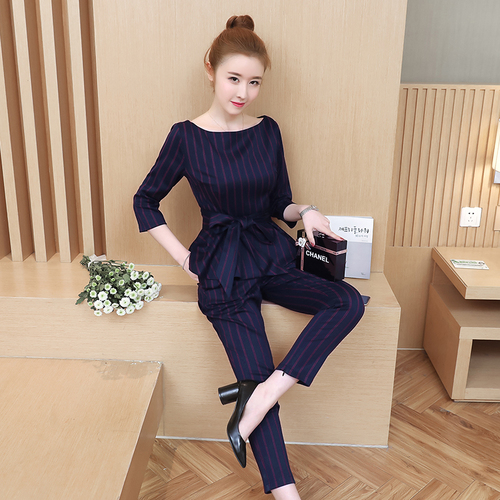 Blue Striped Office Two Piece Set Women Long Sleeve Tops With Belt+pants Trousers Ladies Korean Sets Suits Women's Clothing 2019 31