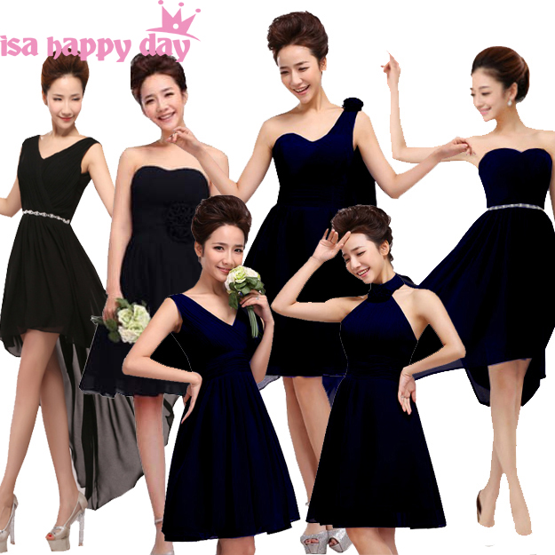 2019 Robes De Soiree Di Colore Nero Bella Chiffon Corto Convenzionale Elegante Abiti Da Damigelle D'onore Teen Girl Abito Da Damigella D'onore Per
