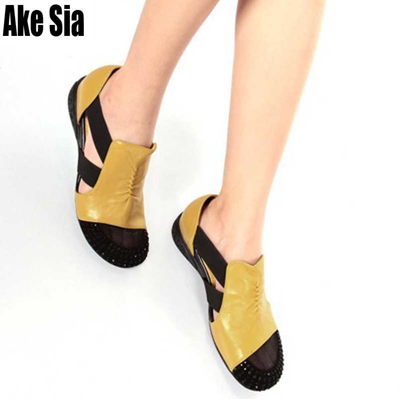 Ake Sia Pack รอบ Toed Rhinestone Adorn ผู้หญิงแฟชั่น Hollow Out Elastic Band รองเท้าแตะ Wedge รองเท้าส้นรองเท้า a371