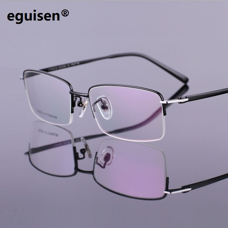 width-140 Pure titanium business man half frame glass myopia eyeglasses Spectacle frame RS930 electroplating oculos de grau