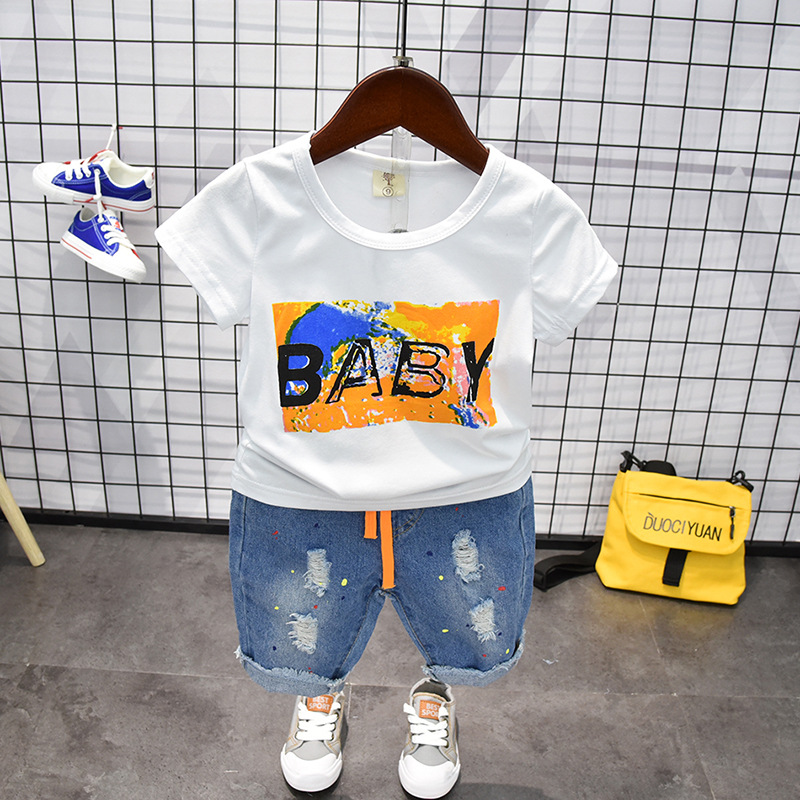 Toddler Boy Clothing Sets Summer 2019 Girls Ripped Jeans Shorts+Cotton T Shirt 2pcs Outfit Baby Kids Boys Clothes Set 3 4 5 6 7