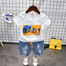 Toddler Boy Clothing Sets Summer 2019 Girls Ripped Jeans Shorts+Cotton T-shirt 2pcs Outfit Baby Kids Boys Clothes Set 3 4 5 6 7 цены