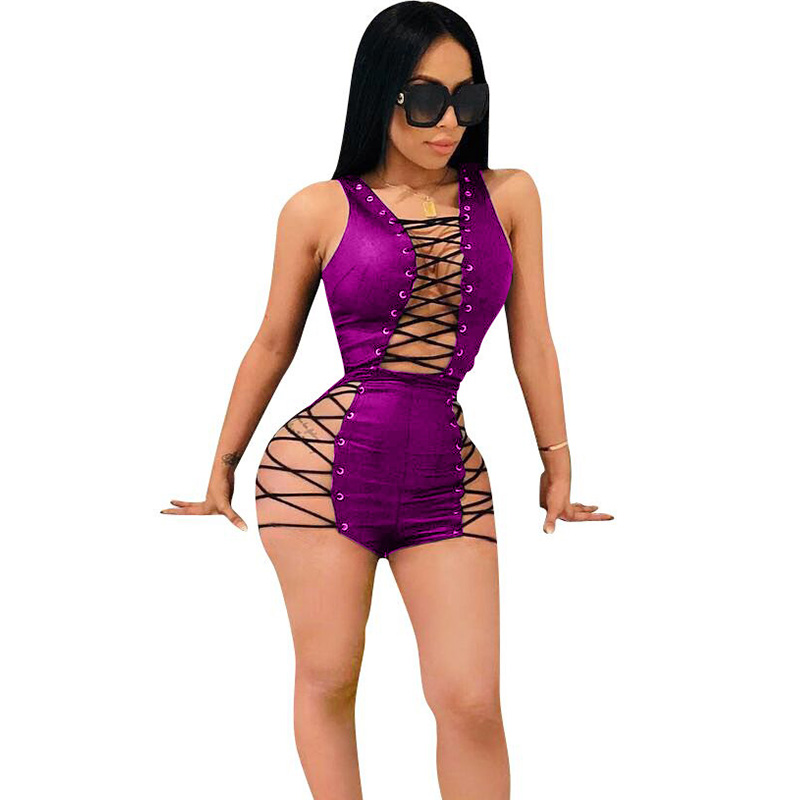 Sexy Club Bandage Bodysuits Women V Neck Lace Up Hollow Out Clubwear Skinny Black Leather Jumpsuit Shorts Playsuits Combinaison