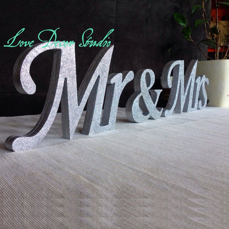 Mr. & Mrs. letters wedding table decoration, freestanding Mr and Mrs ...